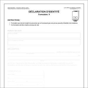Item 1202F - Declaration d'identite - Formulaire 9