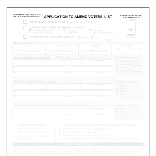 Item 1203 - Application to amend voters' list