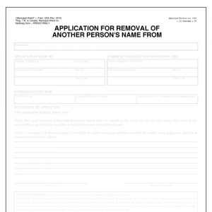 Item 1205 - Application for removal of another persons name from voters list