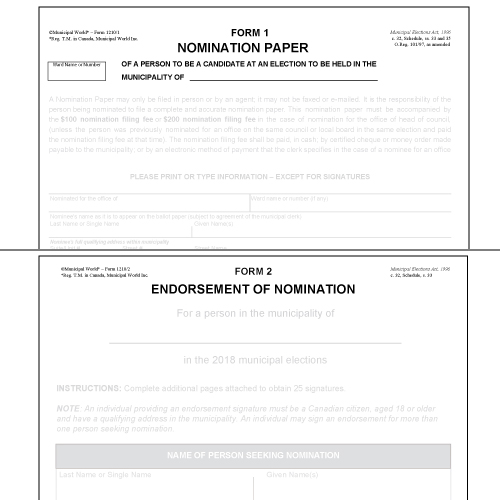 Nomination Forms - Prescribed Forms 1 & 2 Package (10pk) Municipal World Item 1210/A