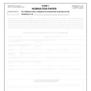 Item 1210/1B - Nomination paper - Form 1 (20pk)