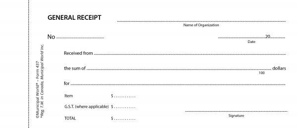 Item 0437 - General receipt book - 50 in duplicate