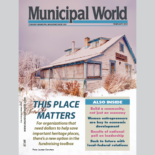 Municipal World Magazine's February 2016 issue cover featuring: Places That Matter