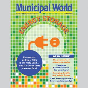 Municipal World Magazine's January 2016 issue cover featuring: Energy Storage
