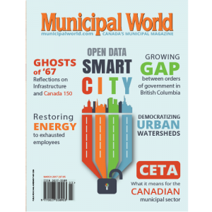 Municipal World Magazine's March 2017 issue cover featuring: Open Data Smart City