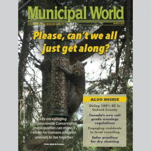 Municipal World Magazine's March 2016 issue cover featuring: Managing Wildlife Issues