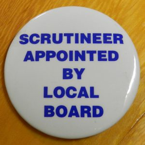 Item 1341 - Badge - Scrutineer appointed by local board