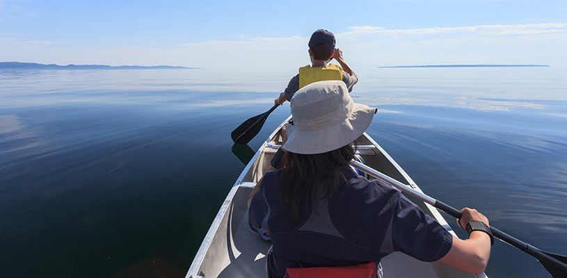 Paddling on the Lake Superior