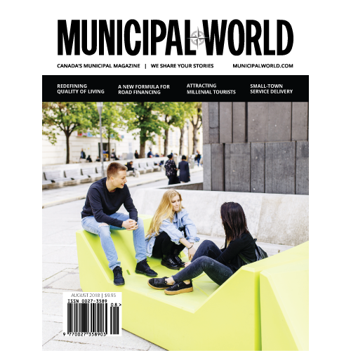 Municipal World Magazine August 2018 issue cover - Redefining Quality of Living