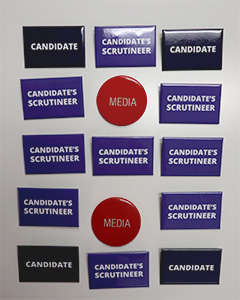 Candidate badge pack including Media, Candidate, and Candidate's Scrutineer badges for voting day