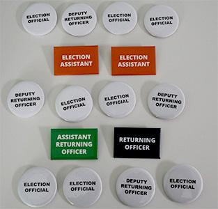 Election Team Badge Pack including Election Official, Deputy Returning Officer, Election Assistant, Returning Officer, Assistant Returning Officer Badges