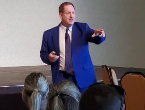 Whitchurch-Stouffville CAO Rob Adams shares his thoughts on the need for better storytelling around municipal finances with delegates at the 2019 MFOA conference.