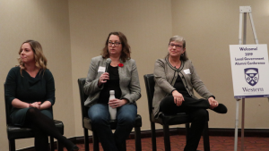 From left: Megan Stanley, Manager of Intergovernmental Relations at the Federation of Canadian Municipalities, Marcia Wallace, from the Ministry of Municipal Affairs and Housing, and Monika Turner, AMO Director of Policy.